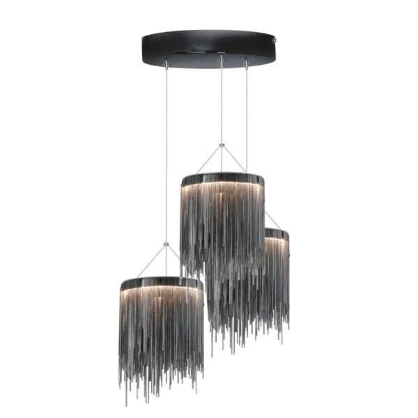 LED Pendelleuchte CASCATTA BLACK schwarz 3-flammig 40cm
