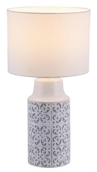 Tischlampe Keramik gemustert weiß grau E27 Agnes