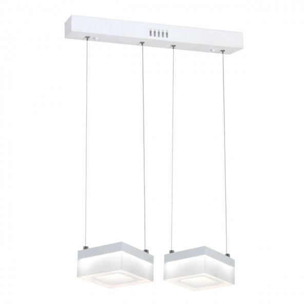 LED Pendleuchte CUBO weiß aus Metall/Acryl 2-flammig