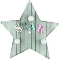 Kinderzimmerlampe grau aus Holz mit Sternen 3 flammig