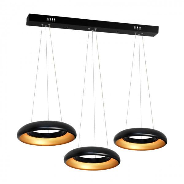 LED Pendelleuchte Schwarz Ringe 36W