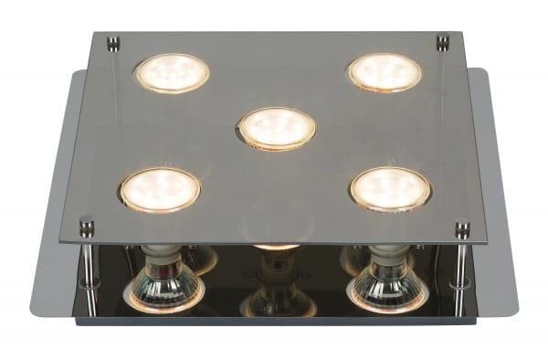 Naomi 5er LED Deckenleuchte eckig chrom grau GU10 5W