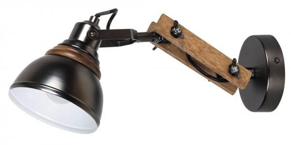 Wandleuchte aus Holz schwarz Industriedesign E14