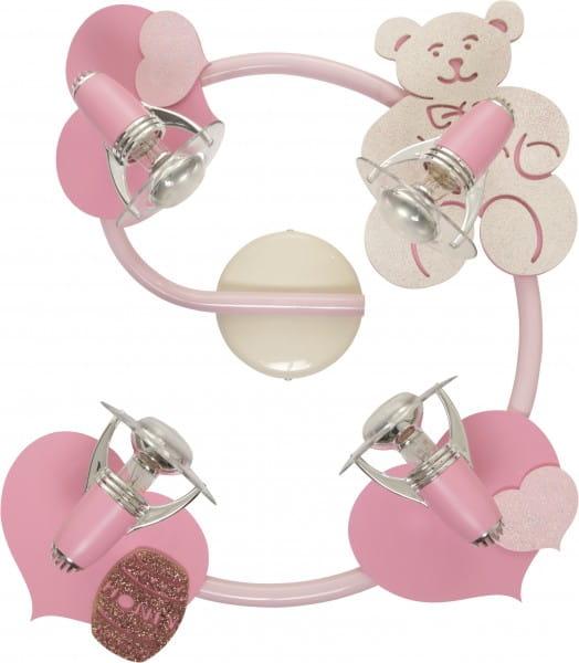 Rosa Kinderleuchte Teddy 4xE14/R50