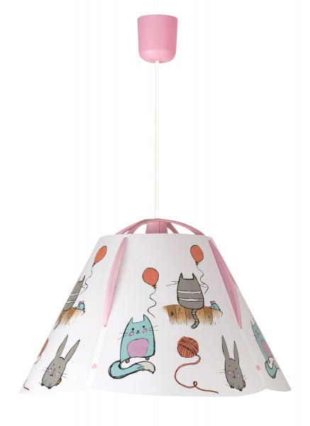 Kinderzimmerlampe Mädchen Cathy rosa mit Tier-Design