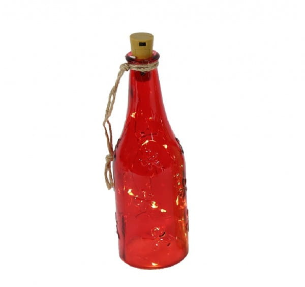 LED-Lichterkette Weinflasche rot