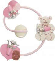 Kinderleuchte rosa Teddy 3xE14/R50